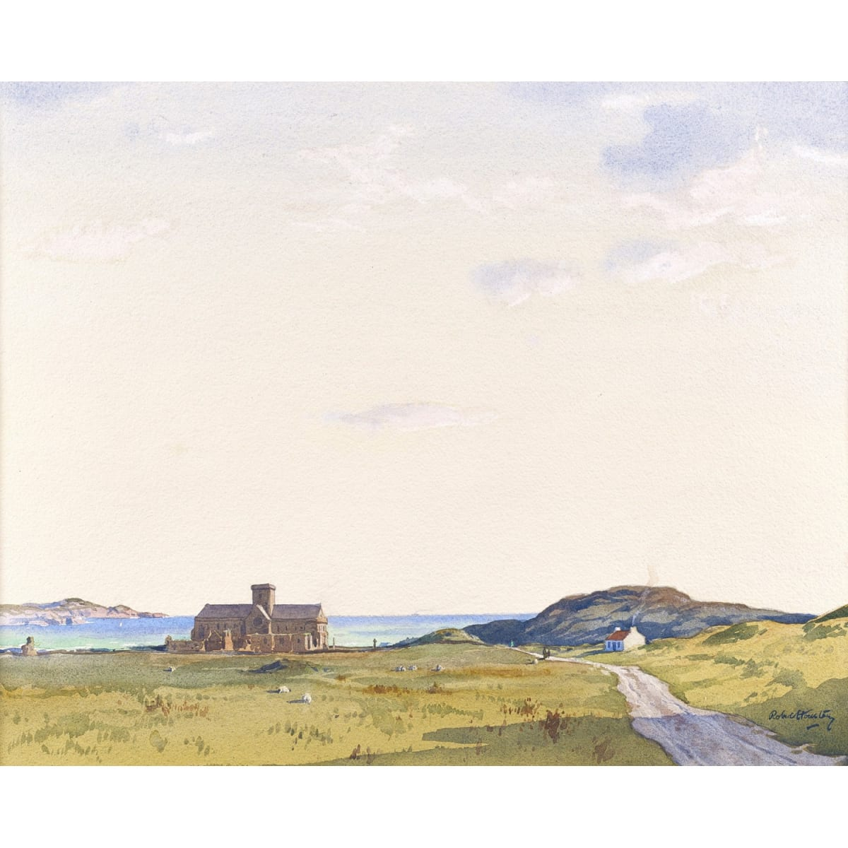 Robert Houston Iona Abbey signed; signed and titled verso watercolour 22 1/4 x 28 1/4 inches