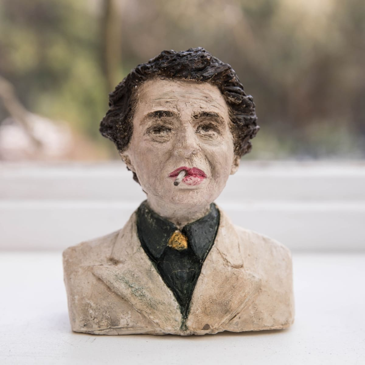 Nicole Farhi Hannah Arendt ciment fondu and acrylic; hand-painted bronze casts available to purchase 17 x 15 x 6 cm edition of 7 + 3 APs
