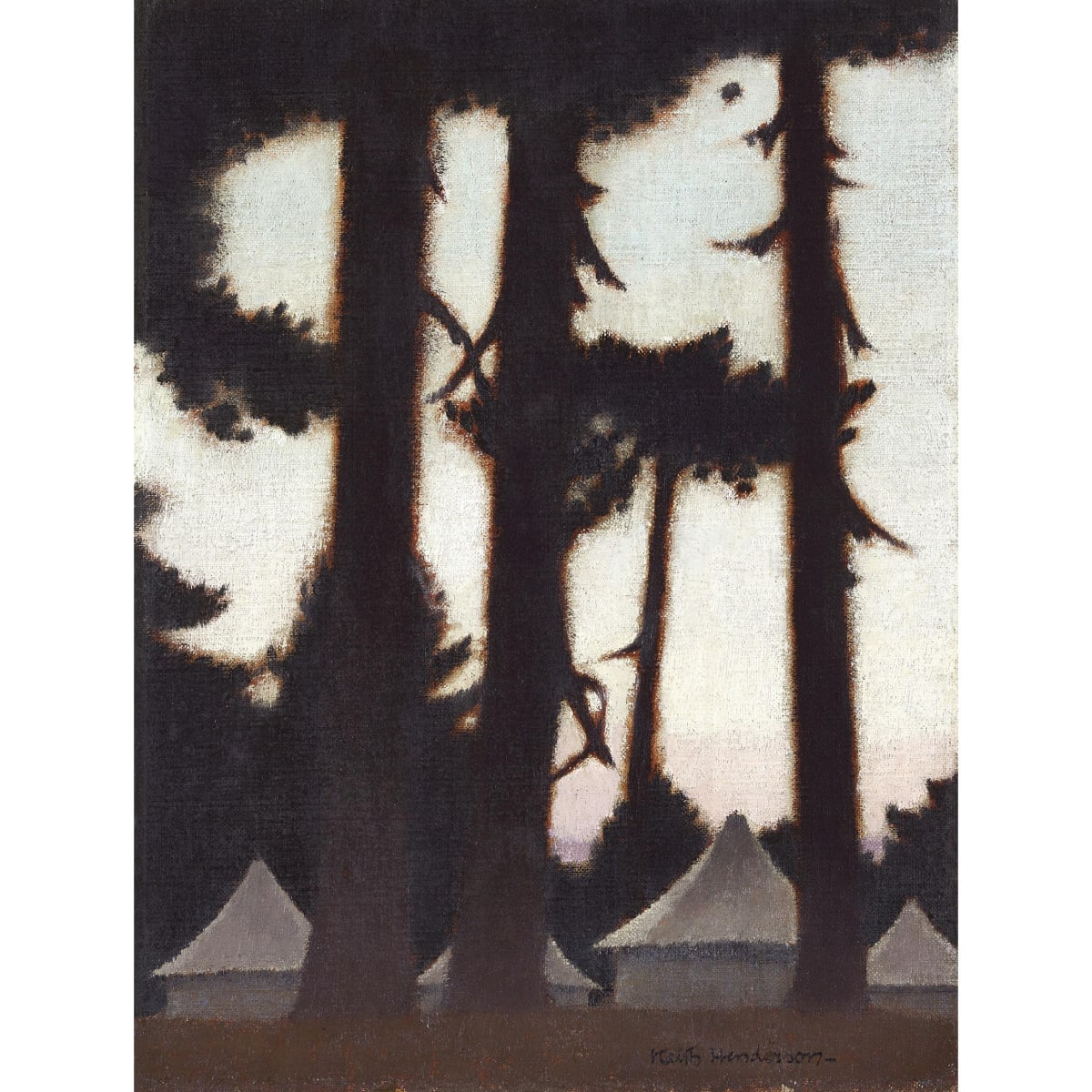 Keith Henderson Army Encampment, Dawn, c.1940-41 signed oil on canvas board 14 x 10 1/2 inches