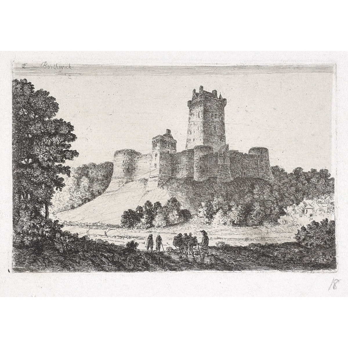 John Clerk of Eldin Borthwick Castle from the East titled 'Borthwick' and initialled CE in plate etching and drypoint 4 x 6 1/4 inches only state