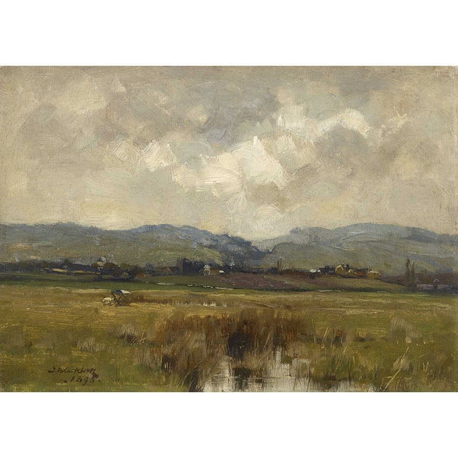 Thomas Bromley Blacklock In a Galloway Landscape, 1893 signed and dated 1893 oil on canvas laid on board 10 x 14 inches