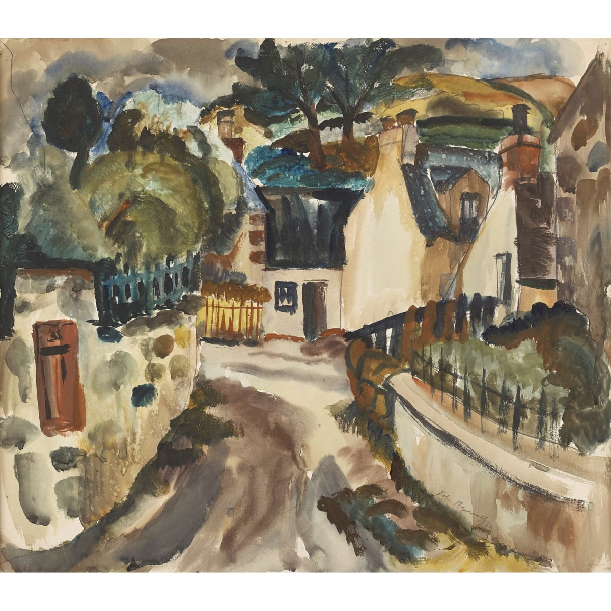 John Maxwell The Village Letterbox (possibly Durisdeer, Dumfries), 1933 signed and dated 1933 pencil and watercolour 19 x 22 inches