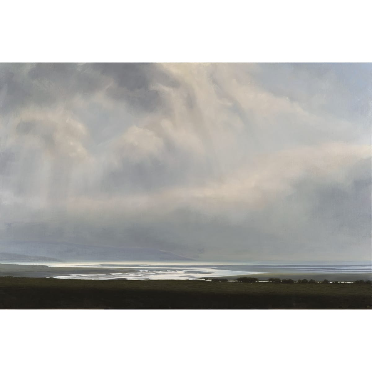 Victoria Orr Ewing Estuary, ebbing tide, Luce Bay, 2019 initialled; titled, initialled and dated '19 verso oil on canvas 146 x 97 cm