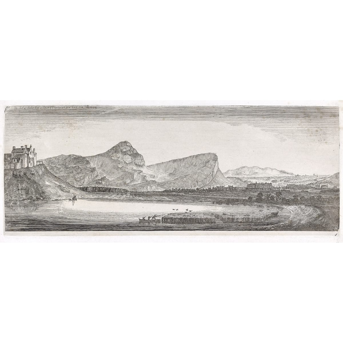John Clerk of Eldin Arthur's Seat from Lochend, 1774 titled, initialled JC and dated 1774 in plate etching 5 3/4 x 15 1/4 inches only state
