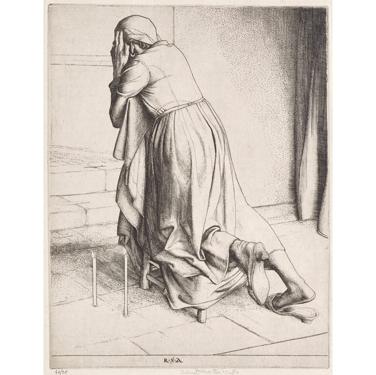 Robert Sargent Austin Woman praying, 1928 initialled RSA in plate; signed and dated 1928 etching plate size: 7 7/8 x 6 1/8 inches numbered 60/75 in pencil to margin