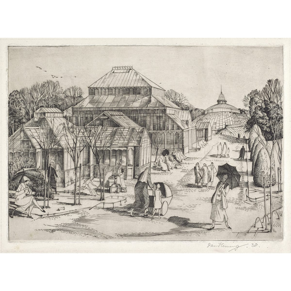 Ian Fleming Botanic Gardens, 1938 signed and dated 38 in pencil to margin etching 7 x 10 inches