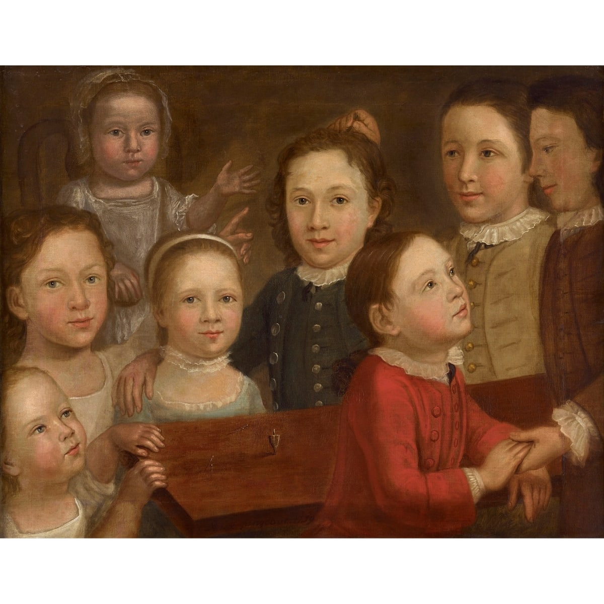 Cosmo Alexander A Group of Children, 1759 signed with monogram and dated 1759 oil on canvas 26 ¾ x 33 ½ inches