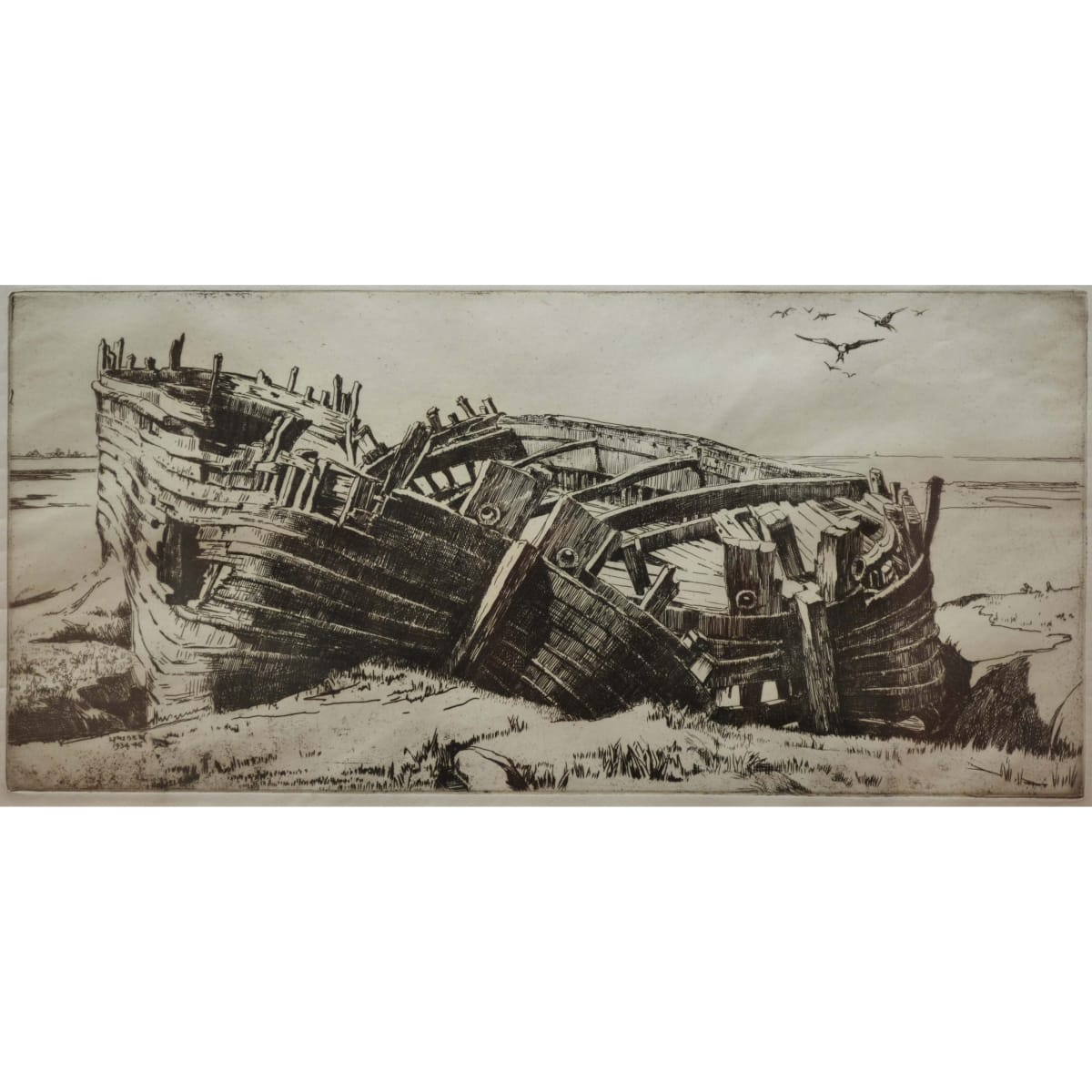 Ernest Stephen Lumsden Shipwreck signed and dated 1934-46 in plate etching 13 1/4 x 20 inches
