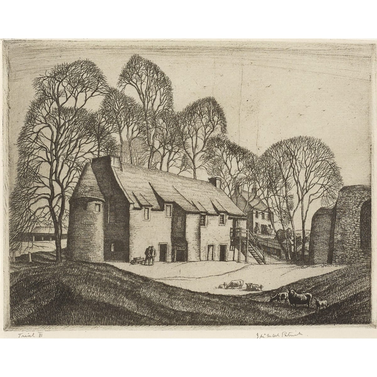 James McIntosh Patrick Powrie Castle, 1930 signed in pencil lower right and inscribed 'Trial III' lower left etching 5 1/8 x 6 5/8 inches