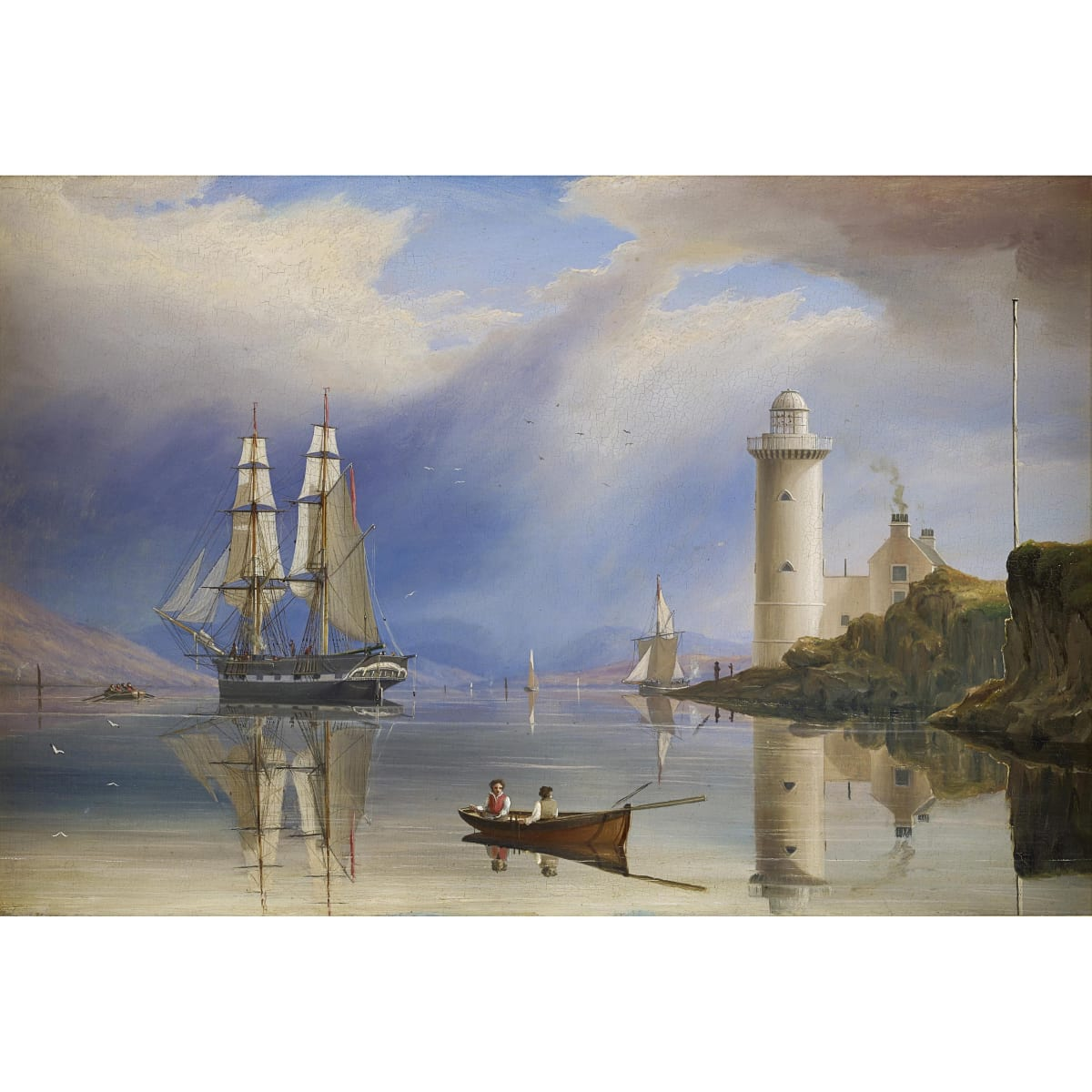 William Clark of Greenock The Cloch Lighthouse, c.1837 signed and dated; inscribed by another hand on label verso oil on panel 13 x 19 1/2 inches