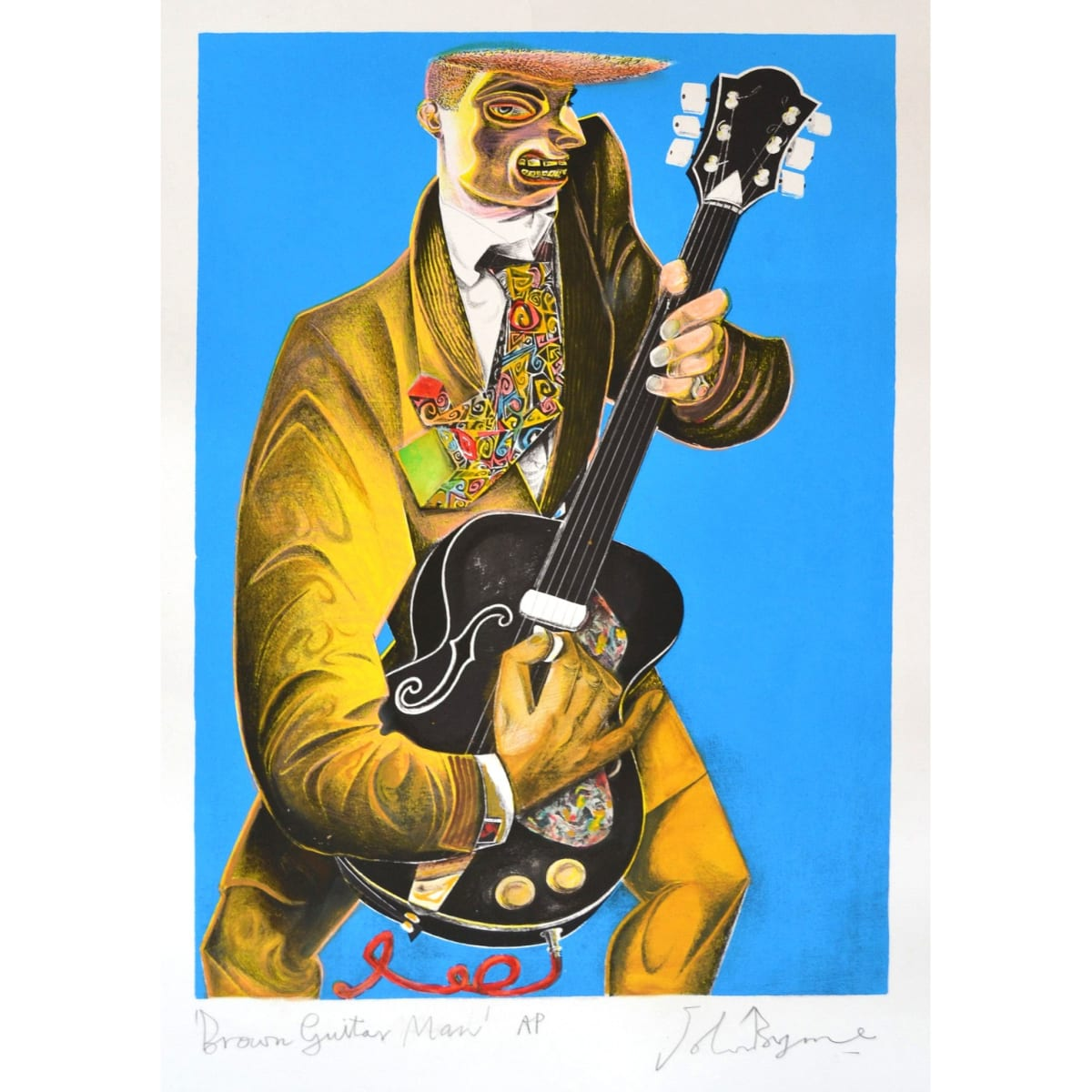 John Byrne Brown Guitar Man, 2019 signed, titled and inscribed A/P in pencil to margin hand coloured lithograph 26 3/4 x 18 3/4 inches