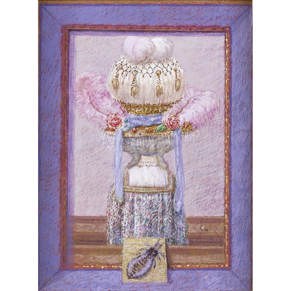 John Halliday Trompe l'oeil with Fabergé egg inscribed 'TO A. LOUISE' on panel verso tempera 8 x 6 inches