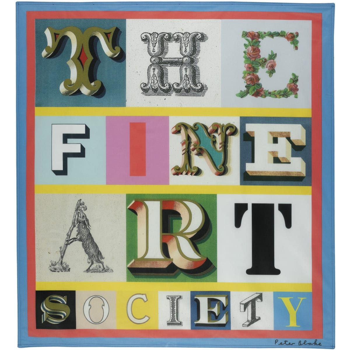 Sir Peter Blake The Fine Art Society Flag, 2013 digital print on canvas 43 1/2 x 39 3/4 inches number 19 from the edition of 50