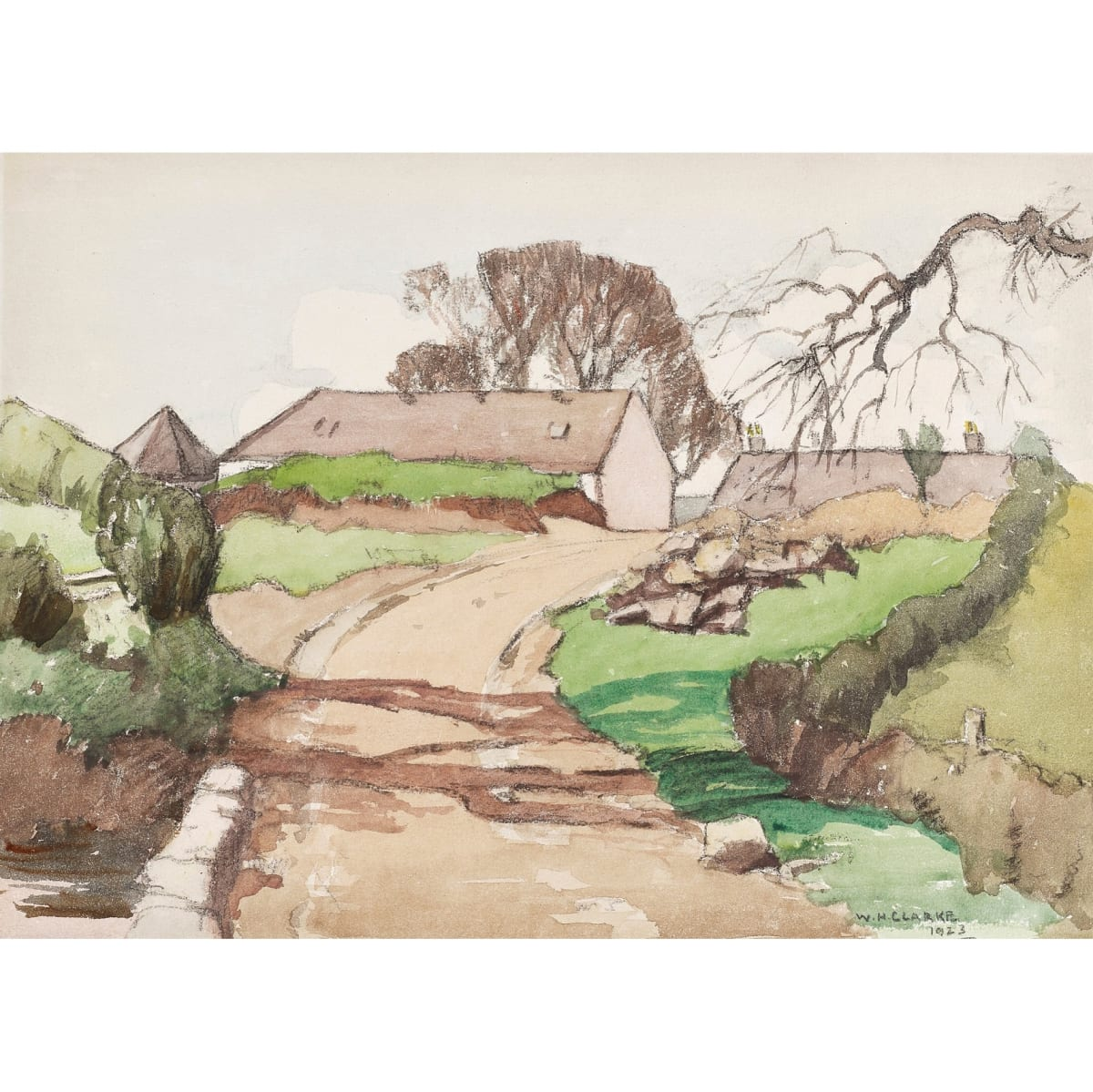 William Hanna Clarke A Galloway Farm, 1923 signed and dated 1923 watercolour 10 1/2 x 14 1/2 inches