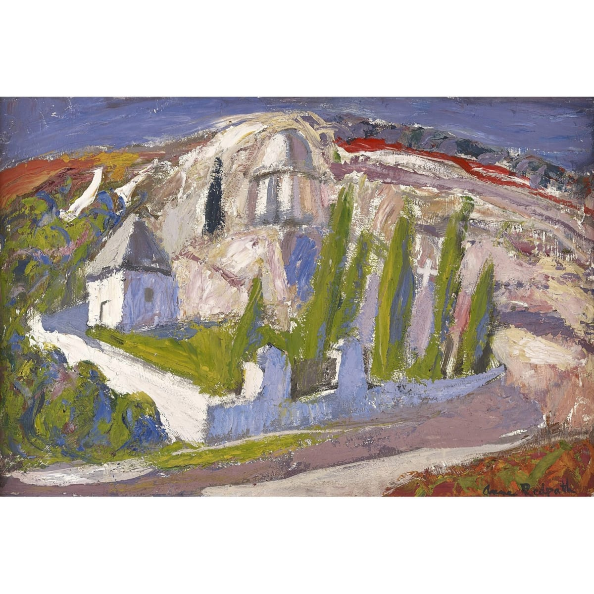 Anne Redpath Wayside cemetery, Corsica signed; titled on label verso oil on board 20 x 30 inches
