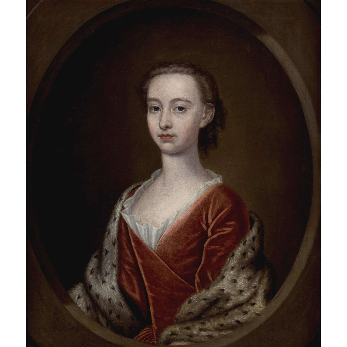 John Alexander Lady Catherine Gordon, 1738 signed, titled 'Lady Catherine Gordon aetatis 14' and dated 1738; signed, titled 'Lady Catherine Gordon aetatis 14' and dated 1738 in another hand verso oil on canvas 30 x 25 inches