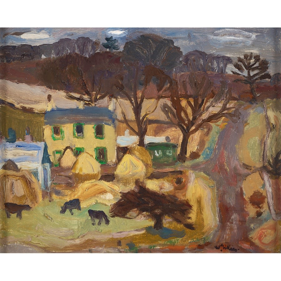 Sir William Gillies Farm at Middleton signed oil on canvas 15 x 18 inches