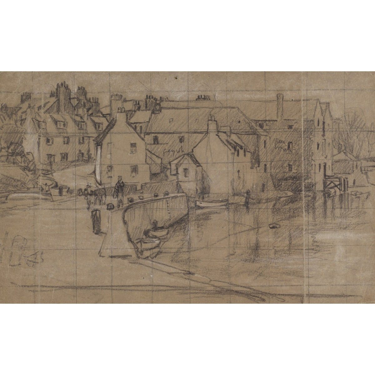 Charles Oppenheimer The Harbour, Kirkcudbright inscribed 3.30 pastel and pencil 6 x 9 3/4 inches
