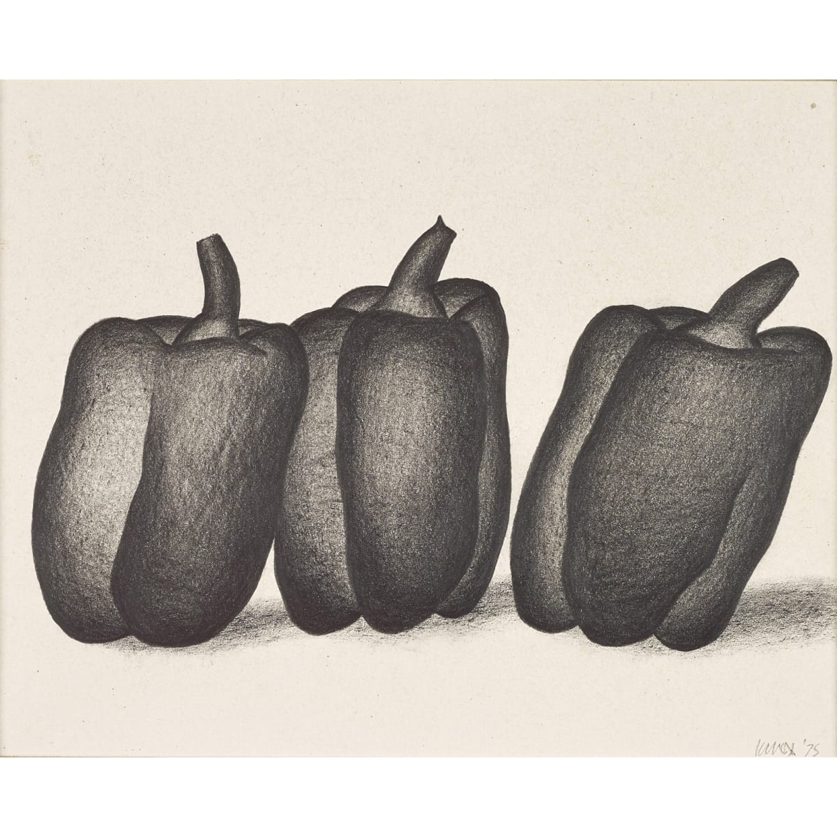 Jack Knox Peppers, 1975 signed and dated '75 conté on paper 6 x 7 1/2 inches