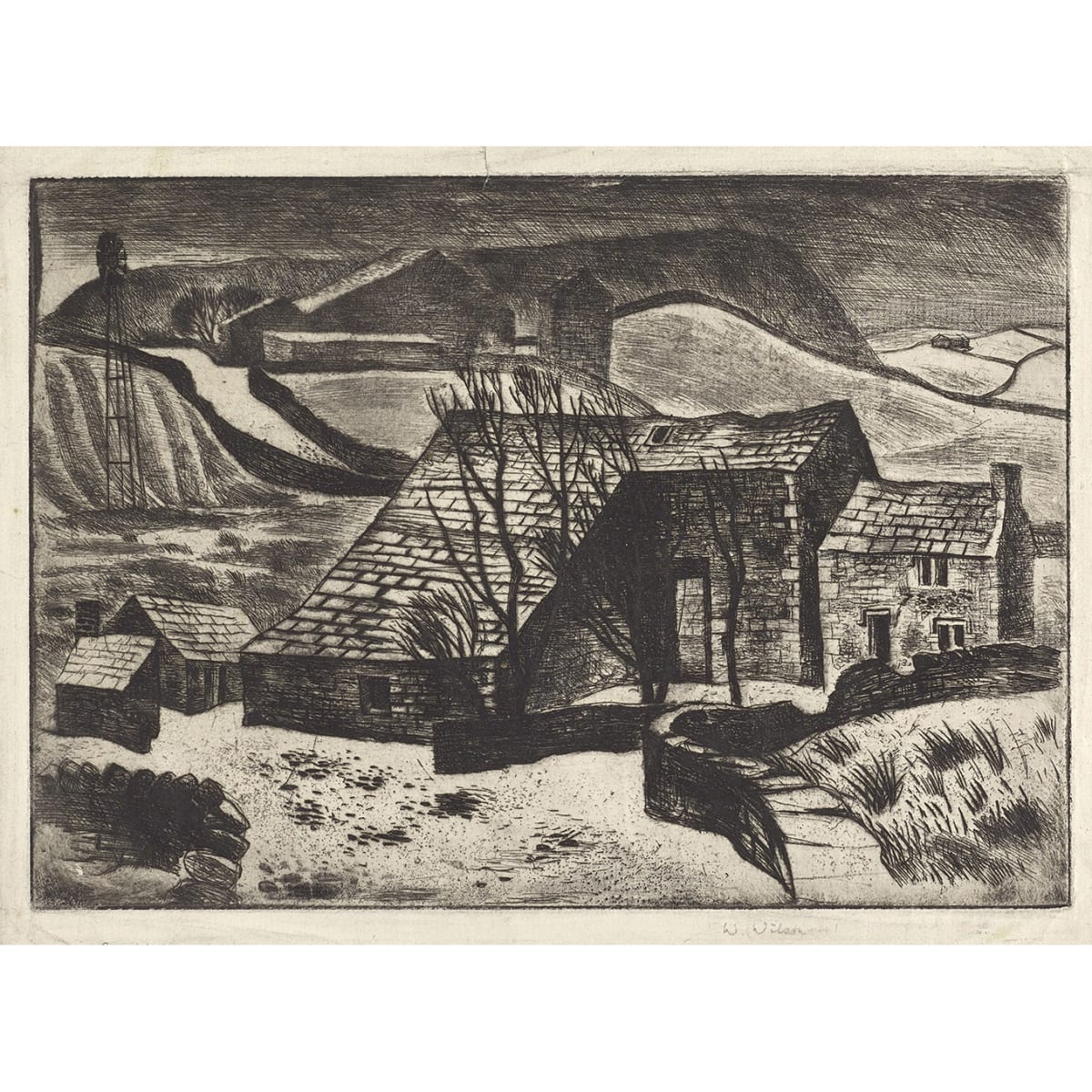William Wilson On Walmersley Moor signed and titled in pencil to margin etching 7 x 9 3/4 inches