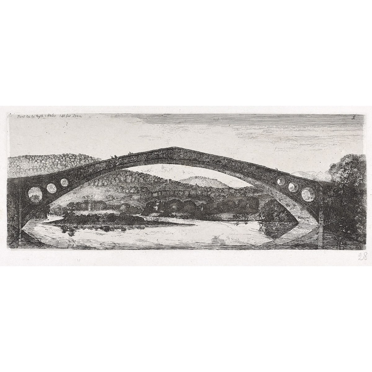 John Clerk of Eldin Pont Y Prydd inscribed 'Pont tu te Pryth i Wales 140 feet span' etching and drypoint 4 1/2 x 11 3/4 inches fifth state