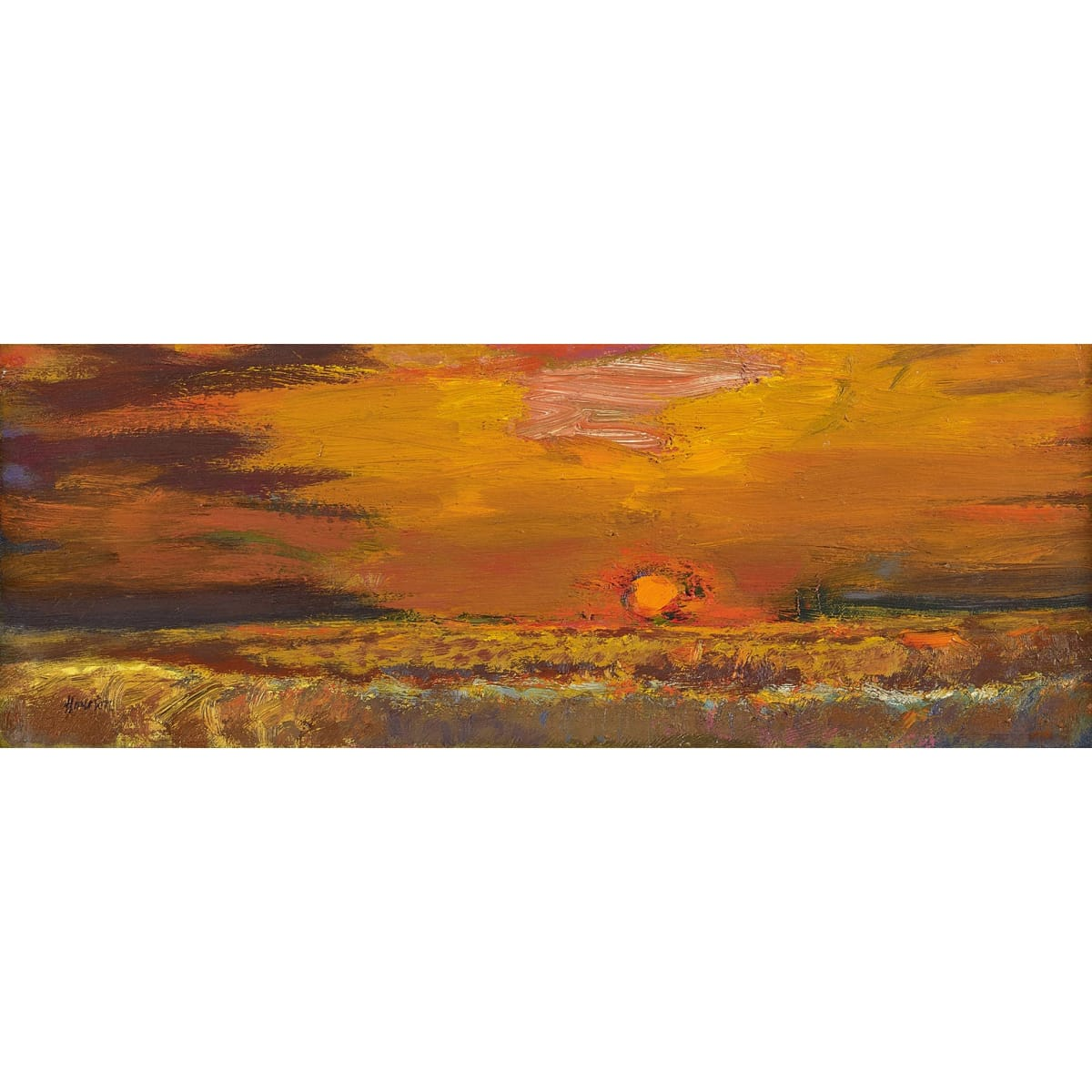John Houston Autumn sunset, near Elie, 1975-76 signed; signed, titled and dated 1975-76 on frame verso oil on canvas 6 x 16 inches