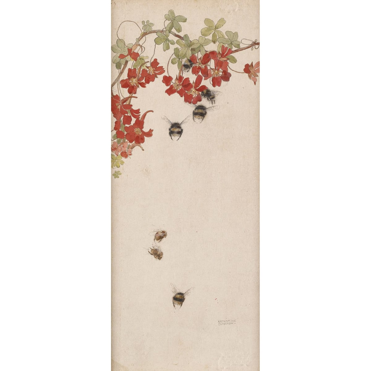 Katharine Cameron Bees and Flowers signed watercolour on paper 26 x 14 1/4 inches