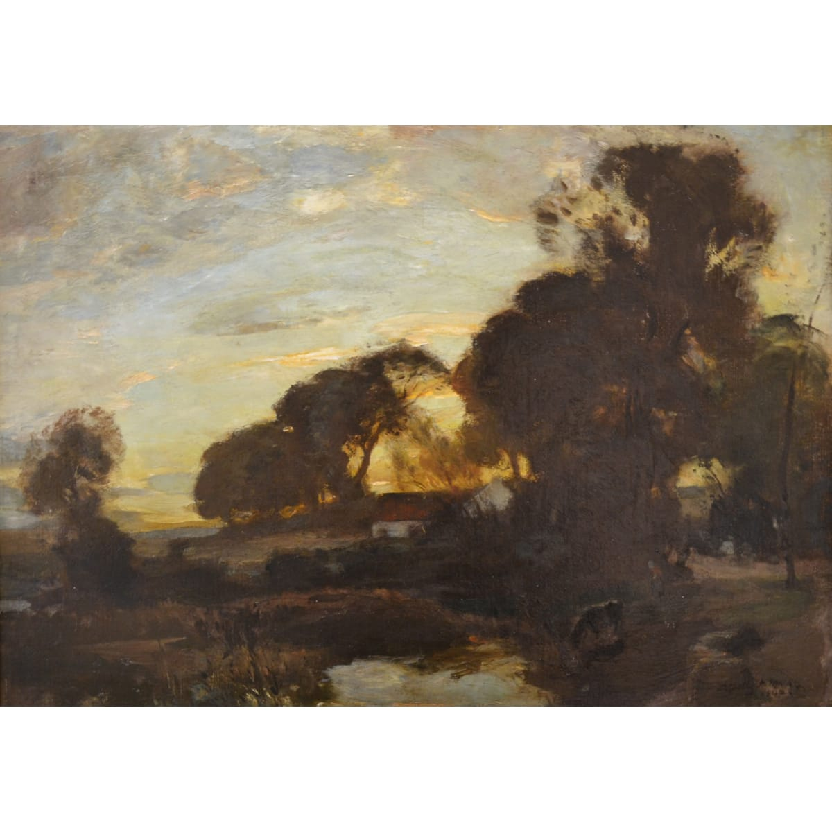 Charles Hodge Mackie A farmstead at sunset, 1900 signed and dated 1900 oil on canvas 17 x 24 inches