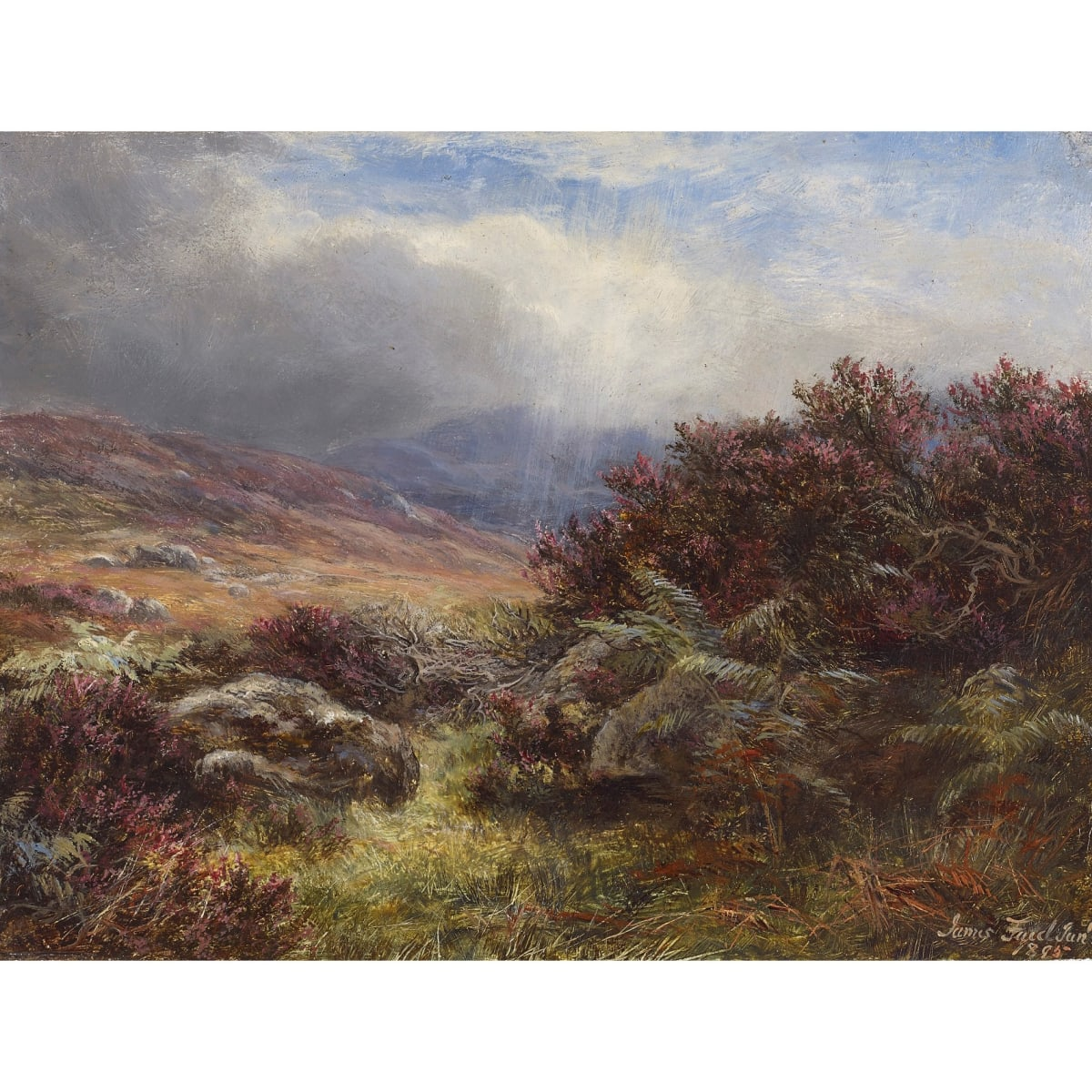 James Faed Jr Heather on the Moors, 1895 signed and dated 1895 oil on panel 6 3/4 x 8 3/4 inches