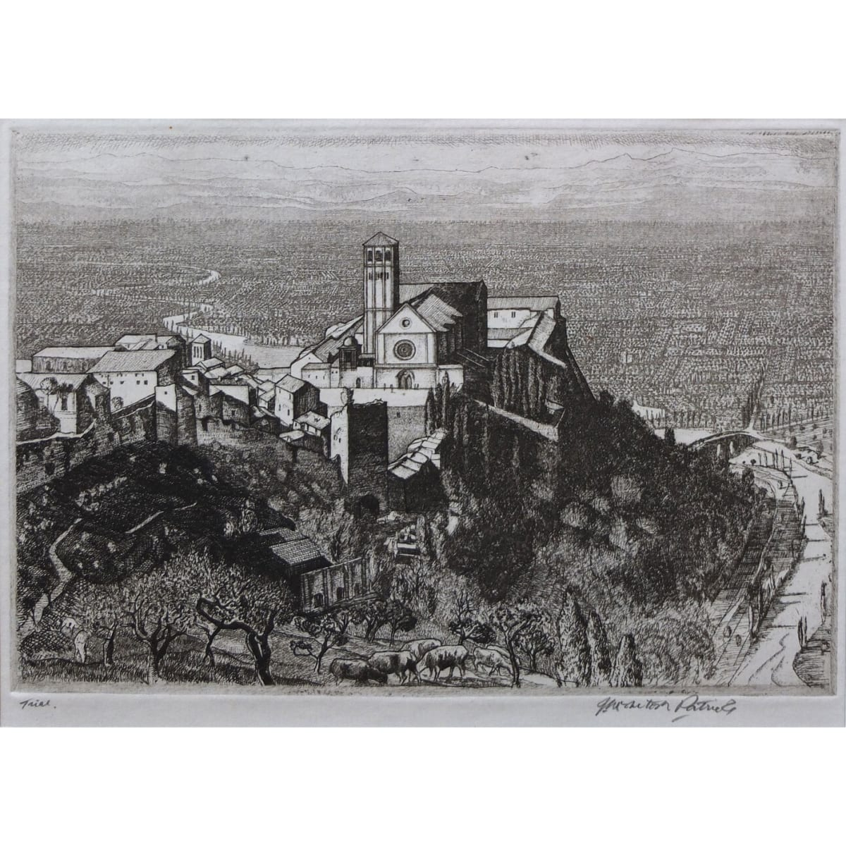 James McIntosh Patrick Assisi, c.1934 signed and inscribed 'trial' in pencil to marginl titled and dated on exhibition label mount verso etching plate size: 5 1/2 x 8 inches; sheet size: 7 1/4 x 12 7/16 inches