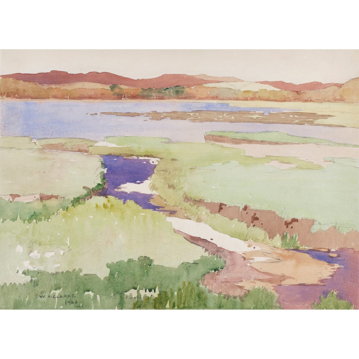 William Hanna Clarke On the river Dee, 1923 signed and dated 1923 watercolour 11 x 14 inches