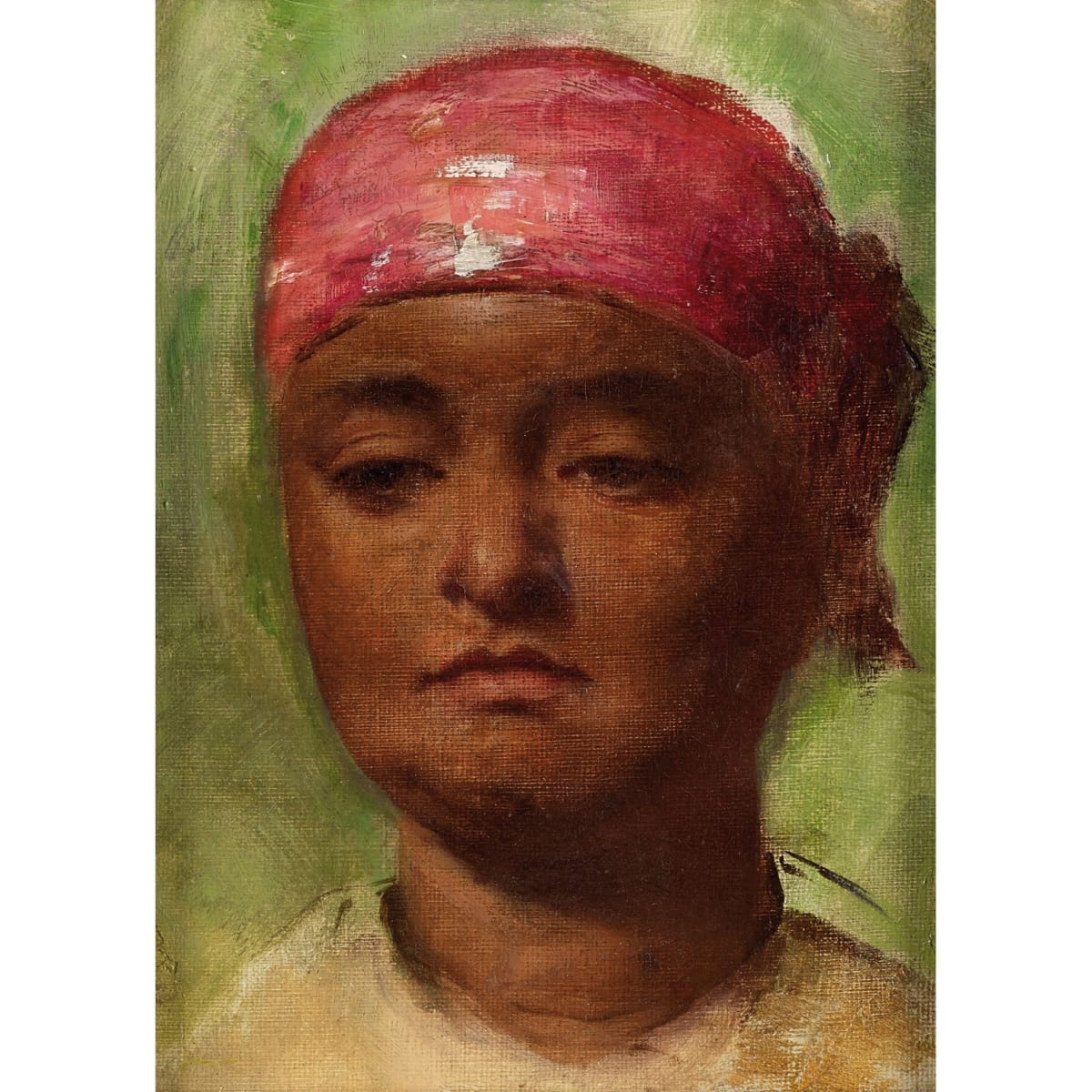 Robert Gavin Head of a Creole Woman oil on canvas board 7 x 5 inches