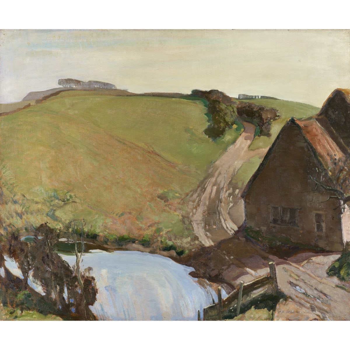 Alick Riddell Sturrock Challow Farm, Dorset signed oil on canvas 25 x 30 inches