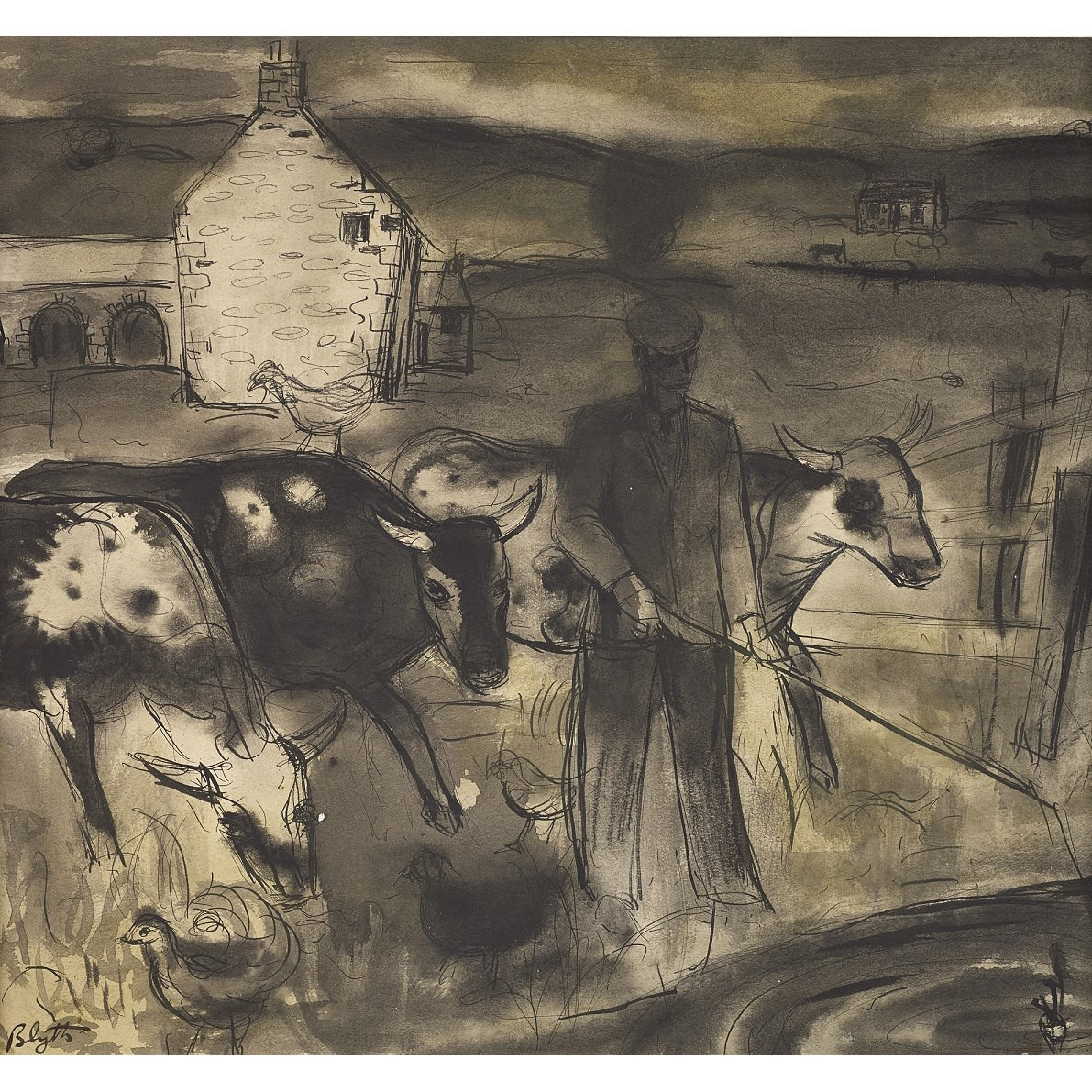 Robert Henderson Blyth A cowhand signed ink and wash 9 1/4 x 10 1/4 inches