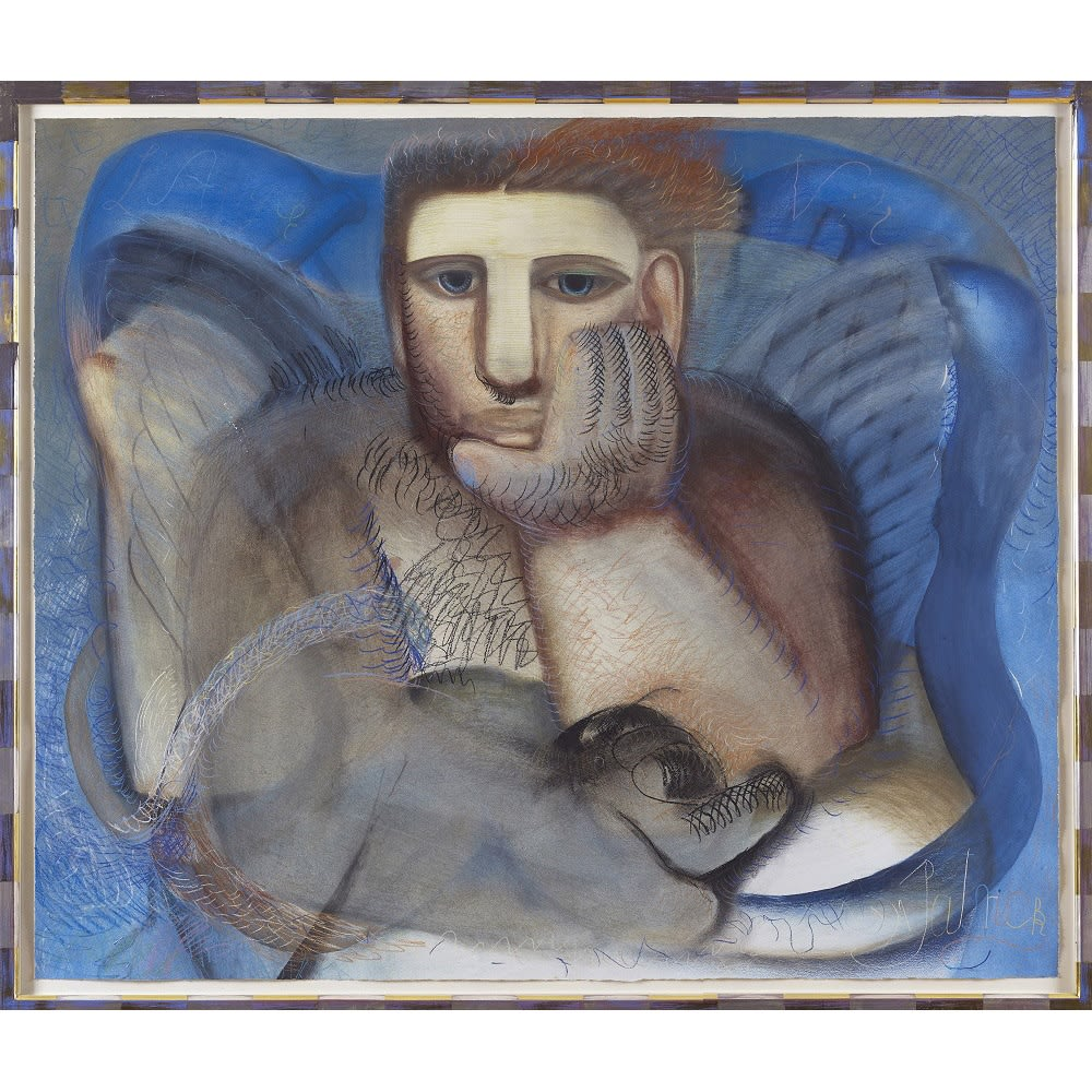 John Byrne L'Ange Noir signed 'Patrick' and titled watercolour and Caran d'Arche water soluble pastels 44 x 52 1/2 inches