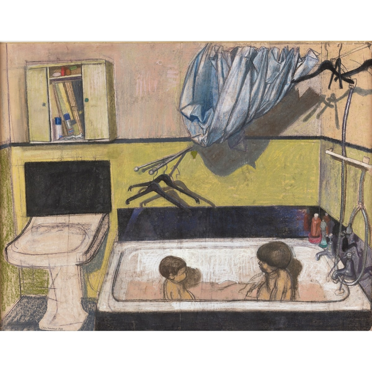 Leon Morrocco RSA The boys in the bath, 1975 signed and dated 1975 pastel 76.2 x 99 cm