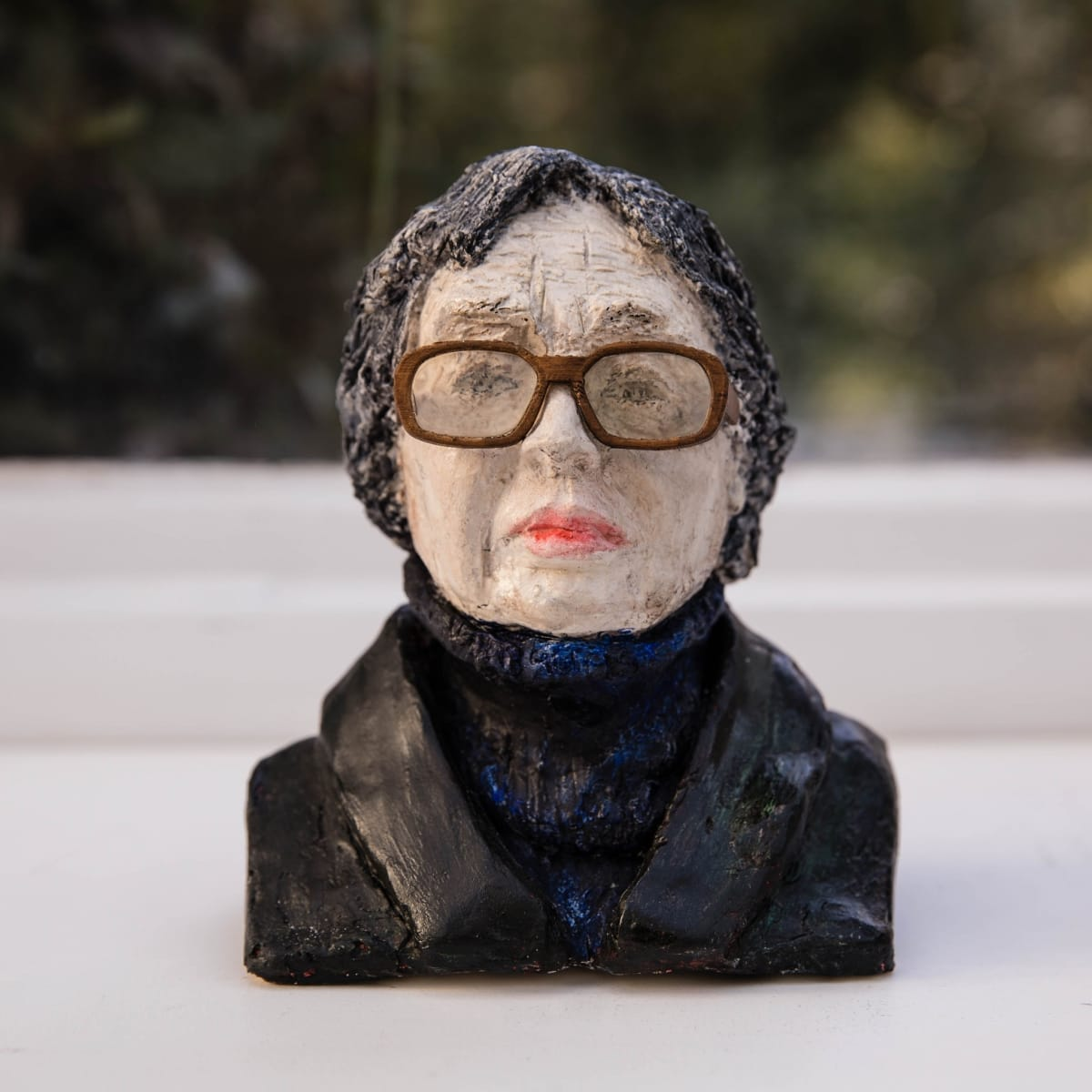 Nicole Farhi Marguerite Duras ciment fondu and acrylic; hand-painted bronze casts available to purchase 18 x 15 x 9 cm edition of 7 + 3 APs