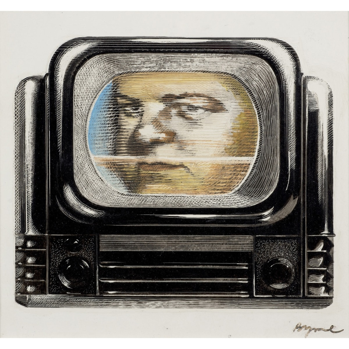 John Byrne Robbie Coltrane as Danny McGlone on the TV, from Tutti Frutti, 1985-6 signed watercolour, pen and ink 5 x 5 inches