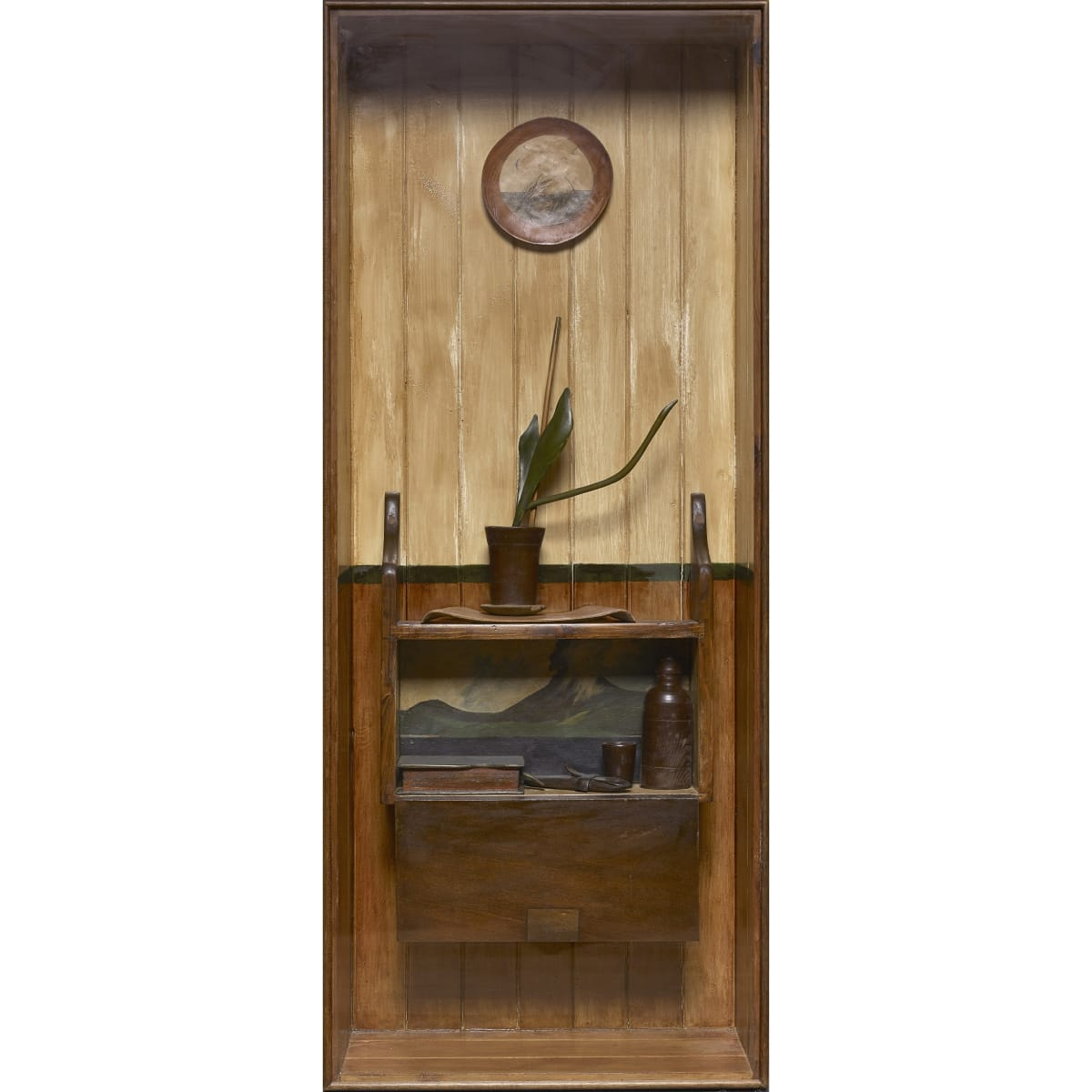 Will Maclean Interior, Wester Ross, 1980 signed and dated 1980; signed, titled and dated verso carved and painted wood box construction 139 x 56.5 x 22.4 cm