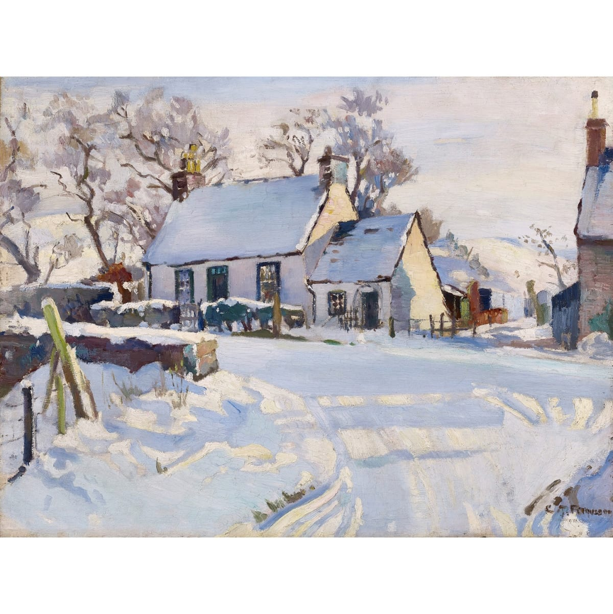 Christian Jane Fergusson Sunlit Snow signed; signed and titled on artist's labels verso oil on panel 18 x 24 inches