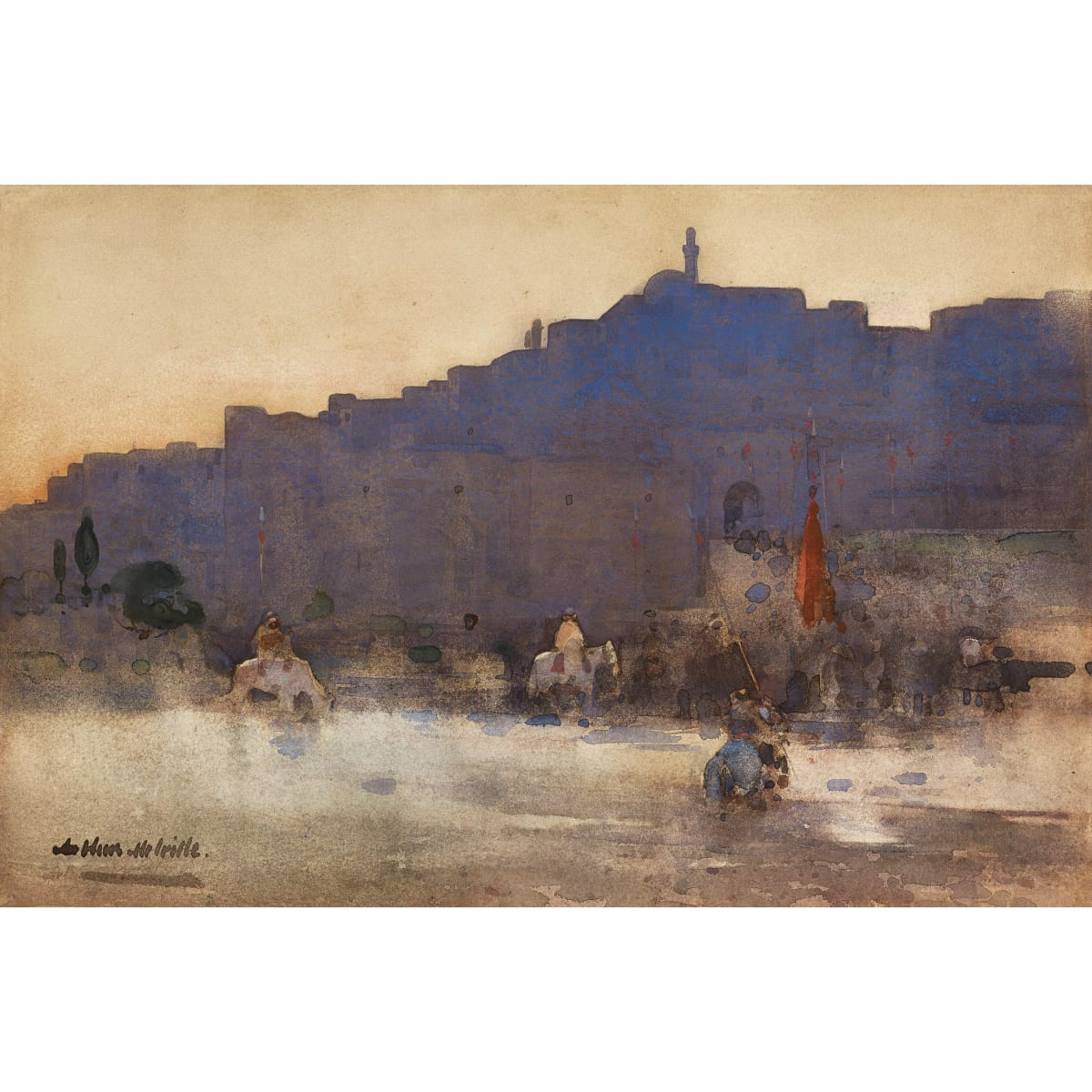 Arthur Melville Mosul at Dawn signed watercolour 12 1/4 x 18 1/4 inches