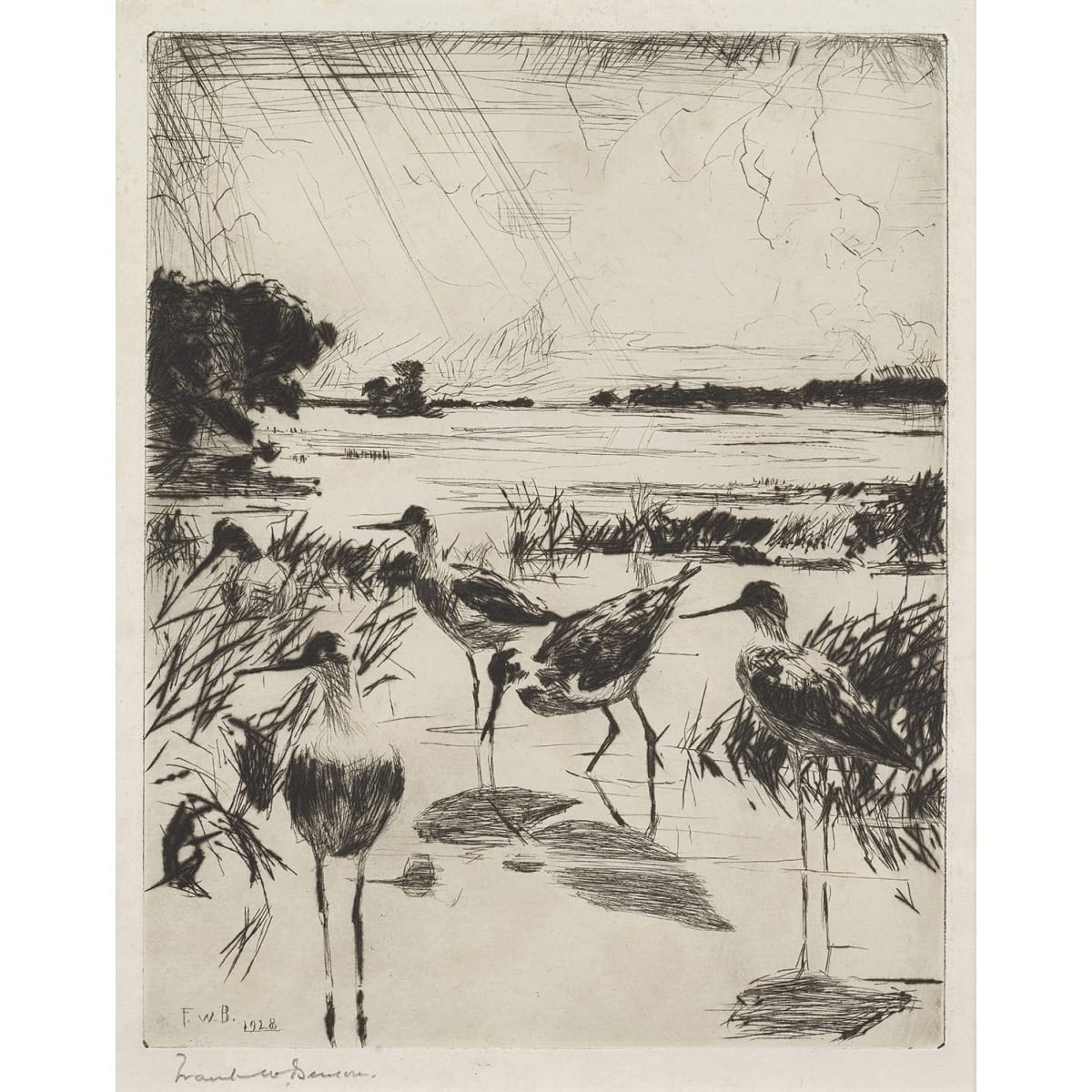 Frank Weston Benson Yellowlegs in sunlight, 1928 initialled FWB and dated 1928 in plate; signed in pencil to margin and titled in pencil to sheet etching 9 3/4 x 7 1/2 inches