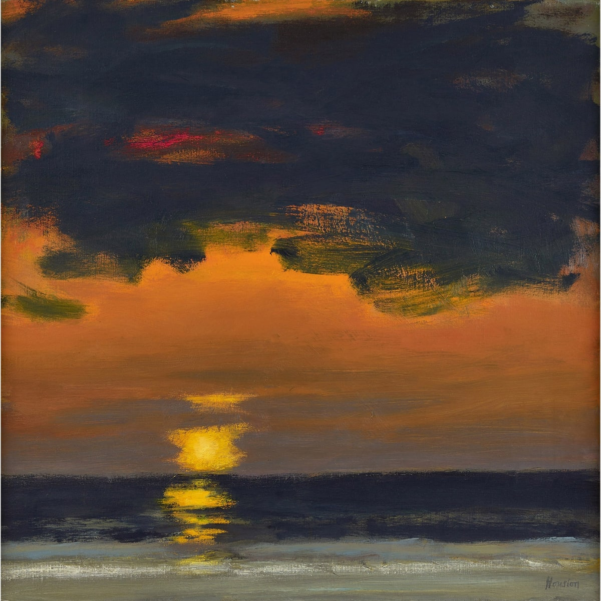 John Houston Sunset over coast, 1980-81 signed; signed, titled and dated 1980-81 on stretcher verso oil on canvas 20 x 20 inches