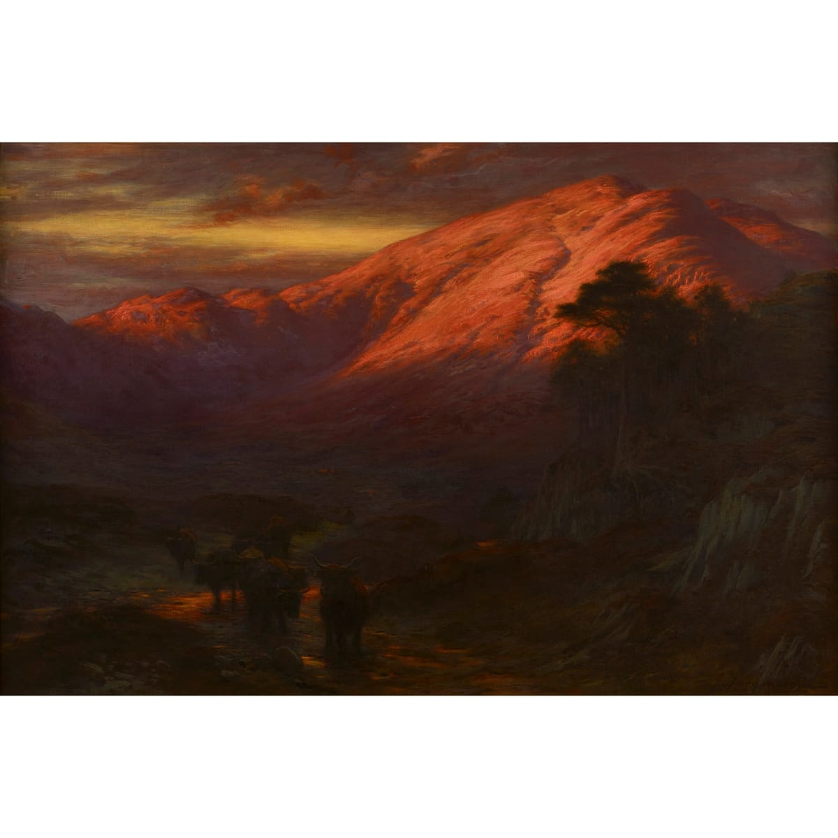 Joseph Farquharson The Rosy Flush of Dawn signed oil on canvas 39 1/2 x 59 inches
