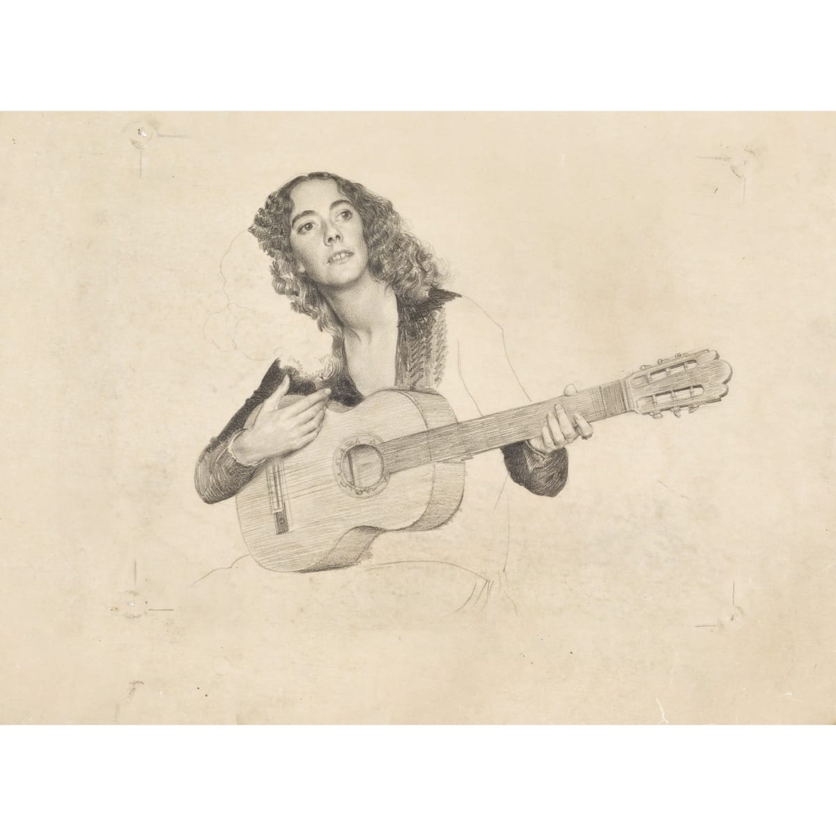 John Bulloch Souter Girl with Guitar pencil on buffer paper 14 1/2 x 20 inches