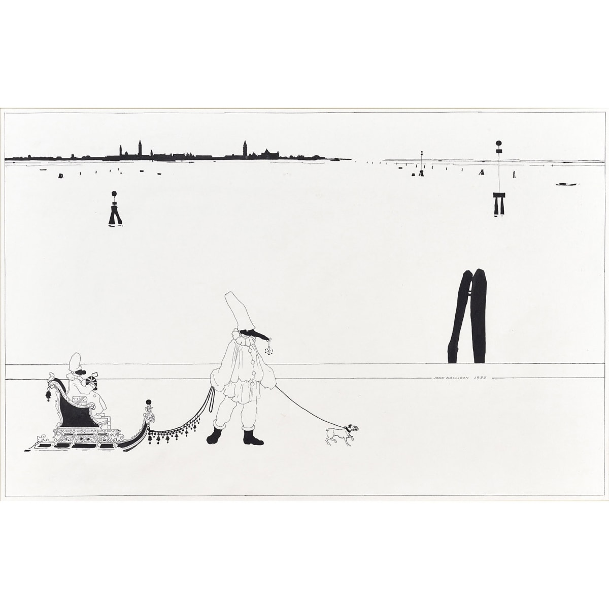 John Halliday Venetian Card, 1988 signed and dated 1988 pen and ink 17 1/4 x 27 1/4 inches