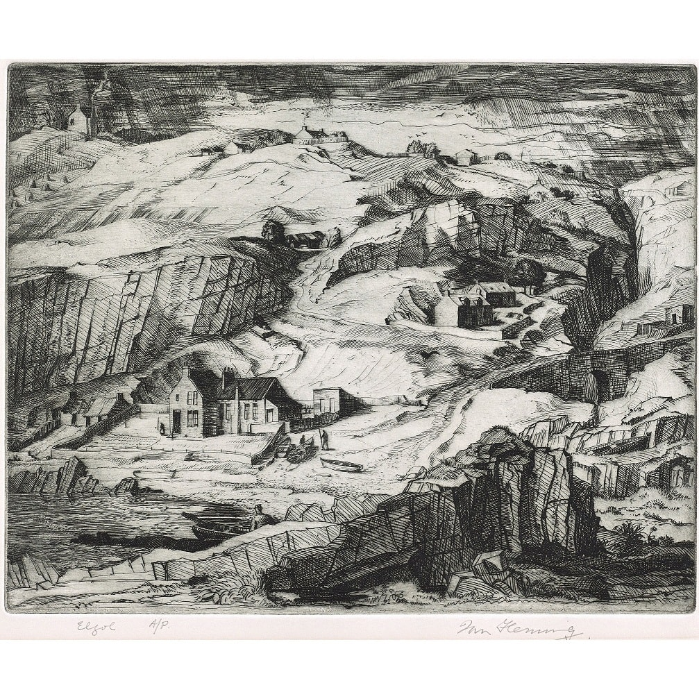 Ian Fleming Elgol signed, titled and 'A/P' in pencil to margin etching plate size: 9 3/8 x 11 3/4 inches; sheet size: 13 5/8 x 15 3/4 inches