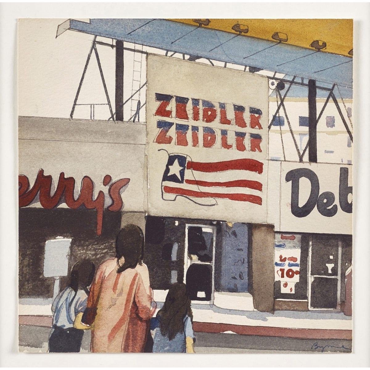 John Byrne Zeidler & Zeidler signed watercolour 6 3/4 x 6 3/4 inches