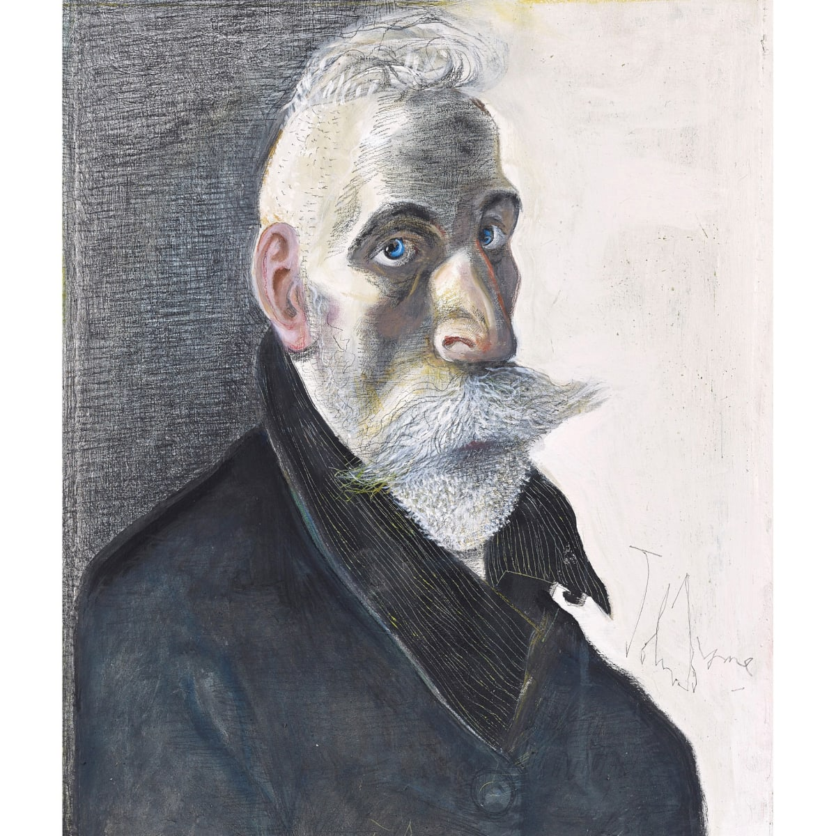 John Byrne Selfie, 2019 signed oil and pastel on Arches paper 71.1 x 61 cm