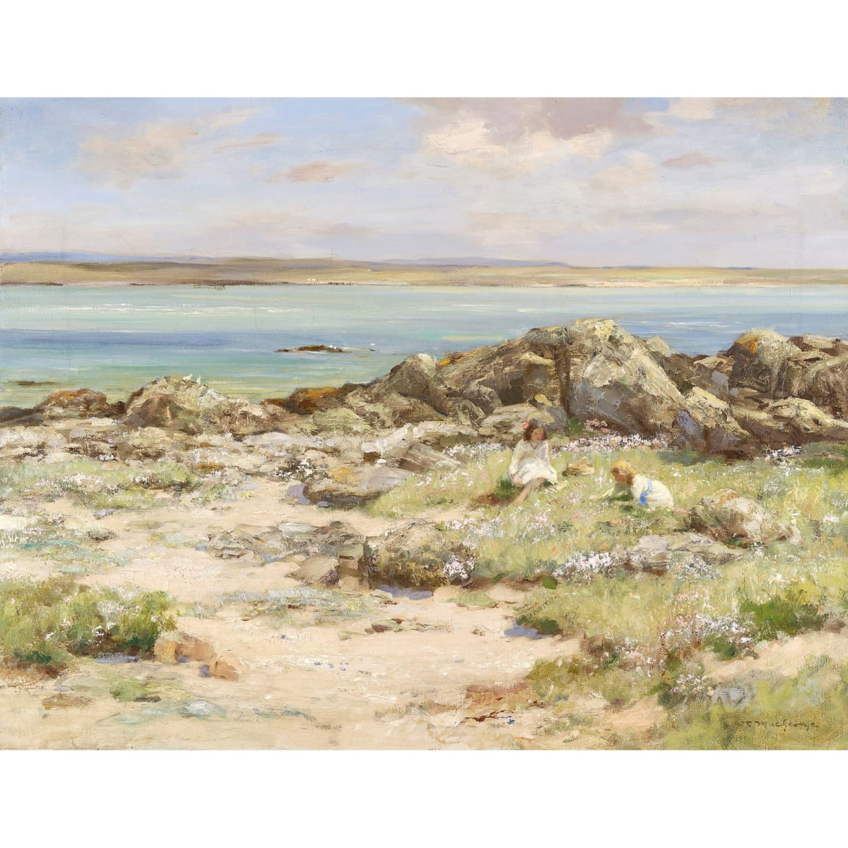 William Stewart MacGeorge Sea Pinks signed oil on canvas 28 x 36 inches